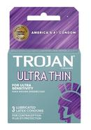Trojan Condom Sensitivity Ultra Thin Lubricated 3 Pack