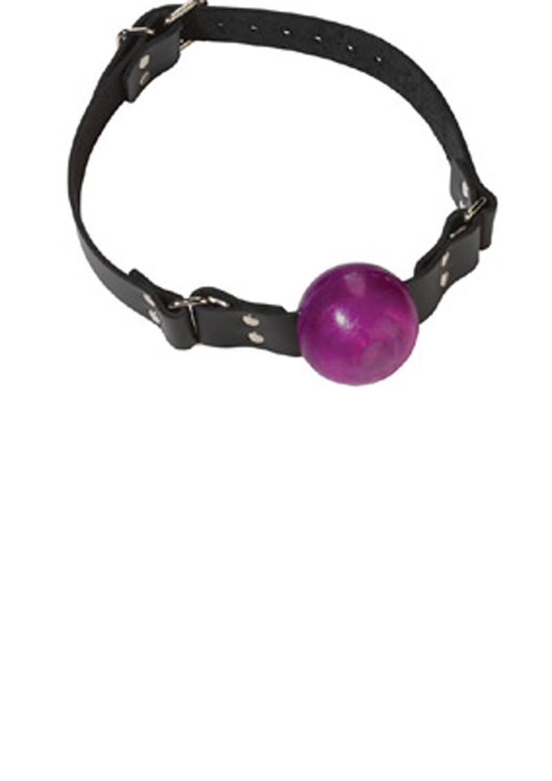 Small Ball Gag With Buckle 1.5 Inch Purple